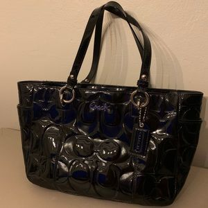 Patent Leather Black Authentic Coach tote